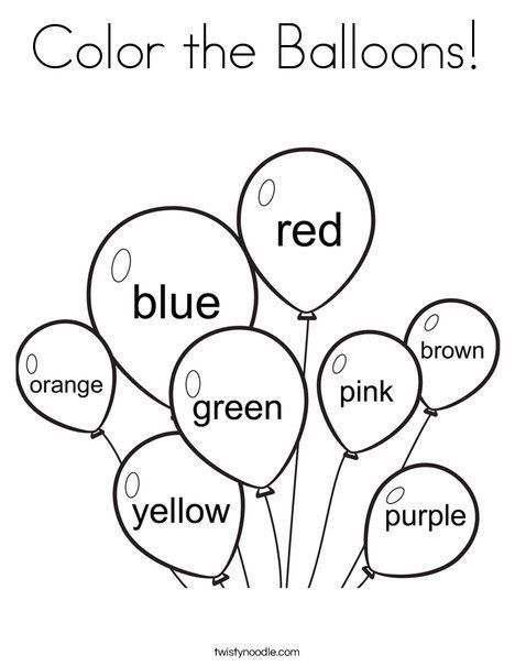 math worksheet : color the balloons coloring page from twistynoodle teacher  : Kindergarten Color Worksheets