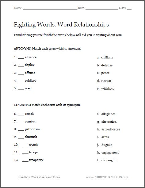 Worksheets High School Worksheet free printable student and high schools on pinterest fighting words war writing worksheets great for familiarizing junior senior school students