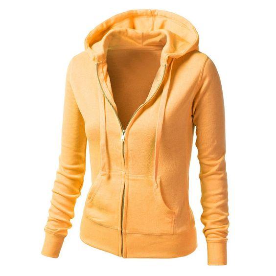 Fashion Cardigan Hooded Pure Color Slim Hoodie