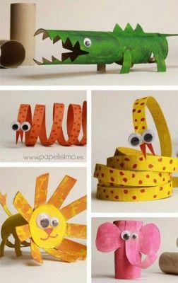 Manualidades con rollos de papel higi nico 7 diy pinterest toilets animales and paper - Manualidades con papel craft ...