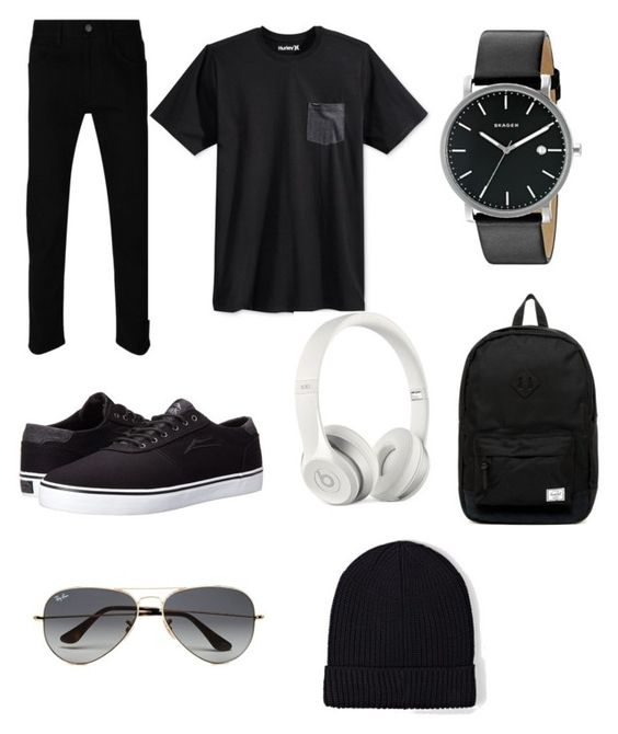 """Untitled #4"" by ritha76 on Polyvore featuring Gucci, Hurley, Lakai, Skagen, Herschel Supply Co., Beats by Dr. Dre, Ray-Ban, AllSaints, men's fashion and menswear"