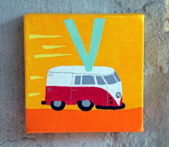 Retro Van Art Painting  alphabet art  acrylic on by GladToBeHere, $27.00