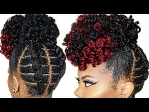 Braidless Crochet No Cornrows High Puff Tutorial Updo Natural Hairstyle Video Black Hair Inform Natural Hair Updo Natural Hair Styles 4c Natural Hair