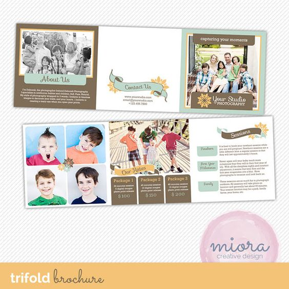 5x5 Trifold Brochure Template with About Me, Mini Session Details, and Session Rates - Photography Marketing - INSTANT DOWNLOAD - TB002 on Etsy, $15.00
