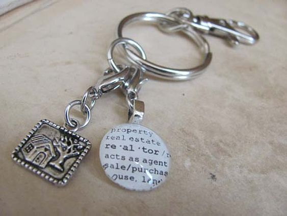 Realtor Key Chain with Silvertone House Charm by KristinVictoria, $18.00