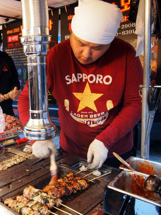 Korean chicken, Chicken skewers and Skewers on Pinterest