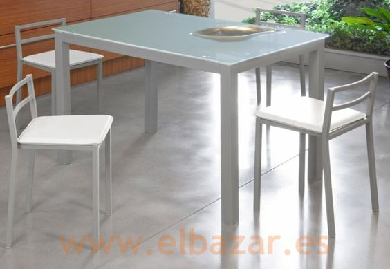 Taburete GRB acero y similpiel blanco, Pack 4 unid. | Comprar | el bazar