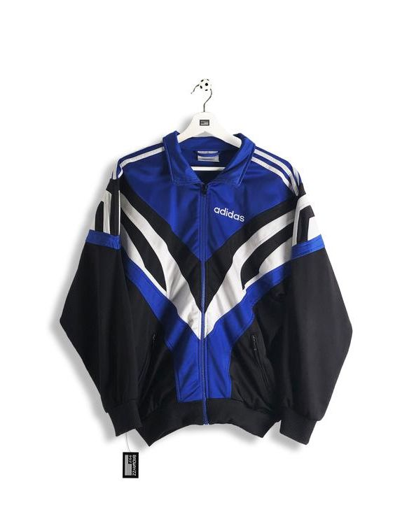 chaqueta adidas negra y azul