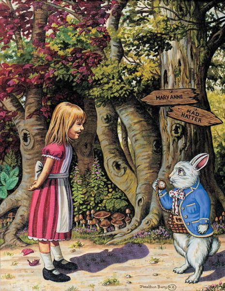 """Alice in Wonderland:  #Alice and the #White #Rabbit ~ """"I'm Late,"""" by Jonothan Barry."""