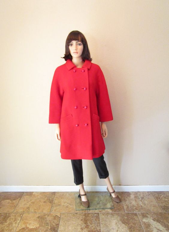 1960s Vintage Red Swing Coat. Heavy Wool Winter. Double Breasted ...