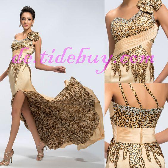 Sexy Ein-Schulter Leopard print Abendkleid