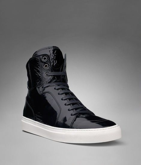 YSL Malibu High-top Sneaker in Black Patent Leather - Sneakers ...