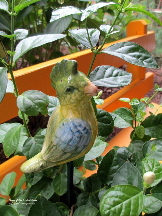 """Plant """"poke"""" made from a vintage salt & pepper set. (Garden of Len & Barb Rosen)  http://ourfairfieldhomeandgarden.com/"""