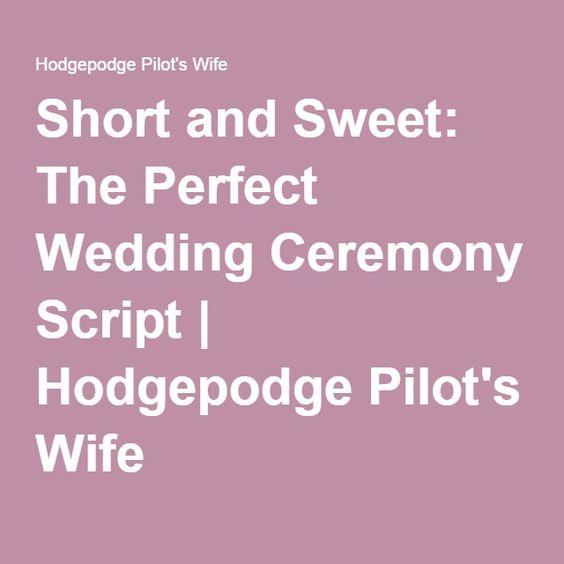 Wedding Ceremony Script Scripts And Perfect Wedding On Pinterest