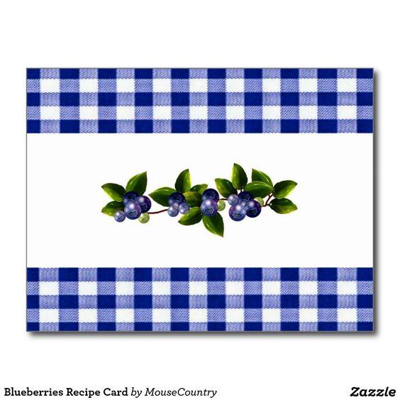 Blueberries Recipe Card   Zazzle.com