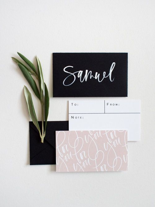 Mini For You Cards Envelopes Pretty Business Card Design Using A Handlettered Font Pretty Business Cards Minimalist Business Cards Gift Card Envelope