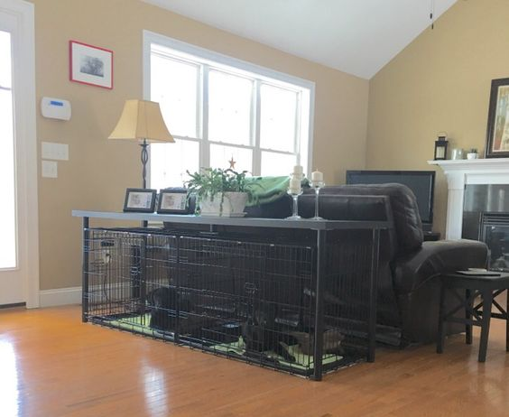 Double Dog Crate Console Table - IKEA Linnmon table and 2 intermediate Precision dog crates!