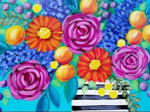 Bohemian Flowers Art Camp And How To Paint On Pinterest
