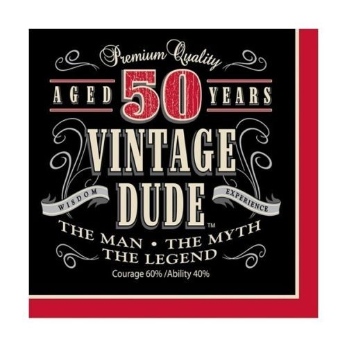 50th-Birthday-Party-Supplies-Age-50-LEGEND-VINTAGE-DUDE-LUNCH-DINNER-NAPKINS: