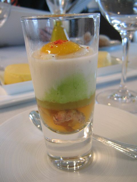 Amuse Bouche: Crayfish topped with parsley puree, cauliflower mousse and a slightly poached quail egg.