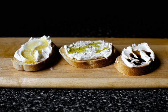 ricotta crostini, three simple ways