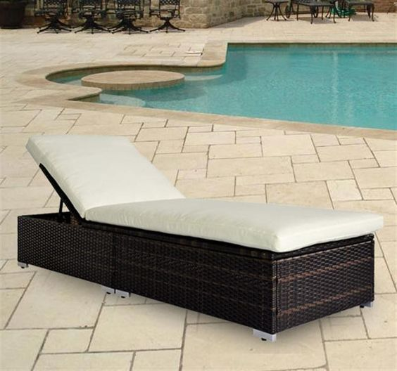 Rattan Sun Lounger Recliner Bed in Brown Colour AosomUK - Home & Garden Specialist