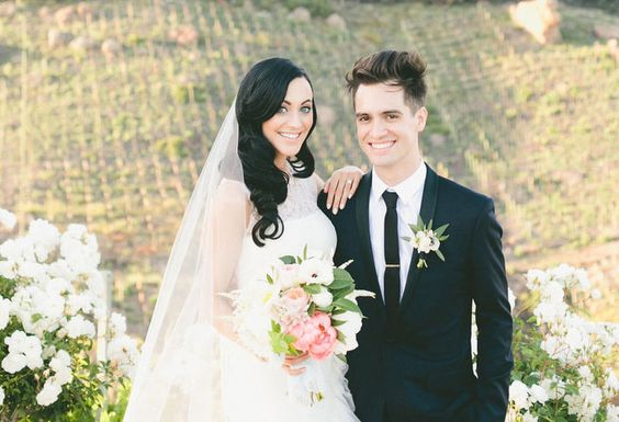 Newly married bride and groom; Brendon Urie and Sarah Orzechowski
