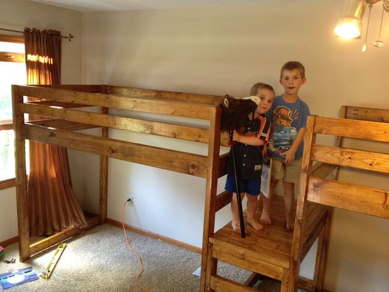 ana white double wide camp loft bed girly rooms pinterest do it yourself pine and bunk. Black Bedroom Furniture Sets. Home Design Ideas