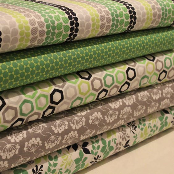 Green Grey and Navy Fat Quarter Bundle 100% by LoveFabricIreland