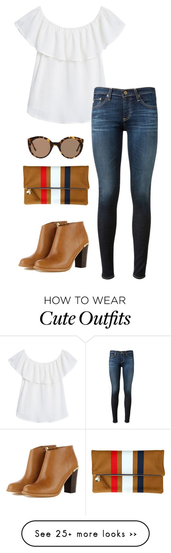 """cute fall transitioning outfit"" by kcunningham1 on Polyvore featuring MANGO, AG Adriano Goldschmied, Clare V. and Illesteva"