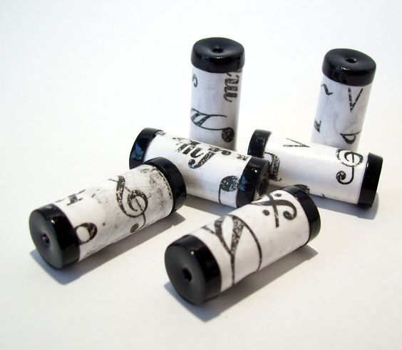 Black and White Musical Tube Beads -  Paper and Polymer Clay by BarbiesBest on Etsy