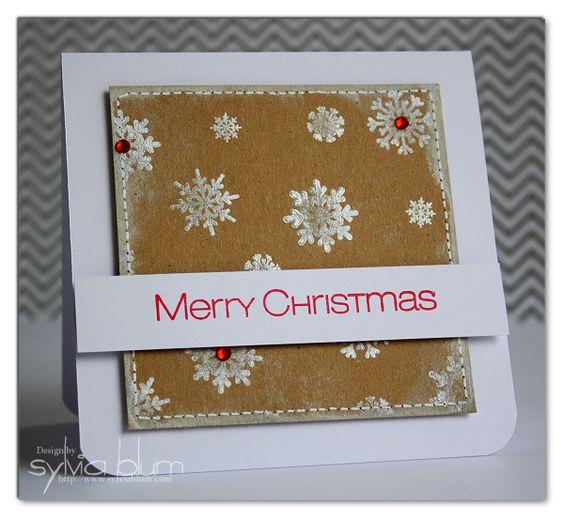 Sylvia Blum: Snowy Christmas Greetings using Tsukineko Brilliance inks with CAS-ual Fridays Stamps