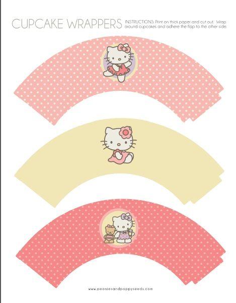 Wraps para cupcake Hello Kitty