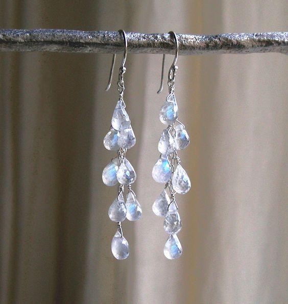 Dripping With Moonstones Earrings - Moonstone Drop Earrings - Waterfall Earrings…: