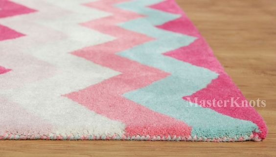 Chevron Style Zig Zag Multi Pink Hand Tufted 100% Wool Area Rug Carpet RUGS EDH…