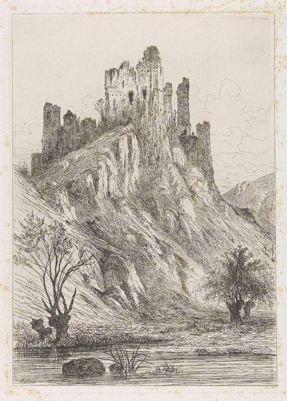 Martinus Antonius Kuytenbrouwer (jr.)   Ruïne van het kasteel van Montaigle, Martinus Antonius Kuytenbrouwer (jr.), 1854   Gezicht op de ruïne van het op een rots gelegen kasteel van Montaigle met op de voorgrond een ven. Bij de ruïne bevinden zich drie figuren.