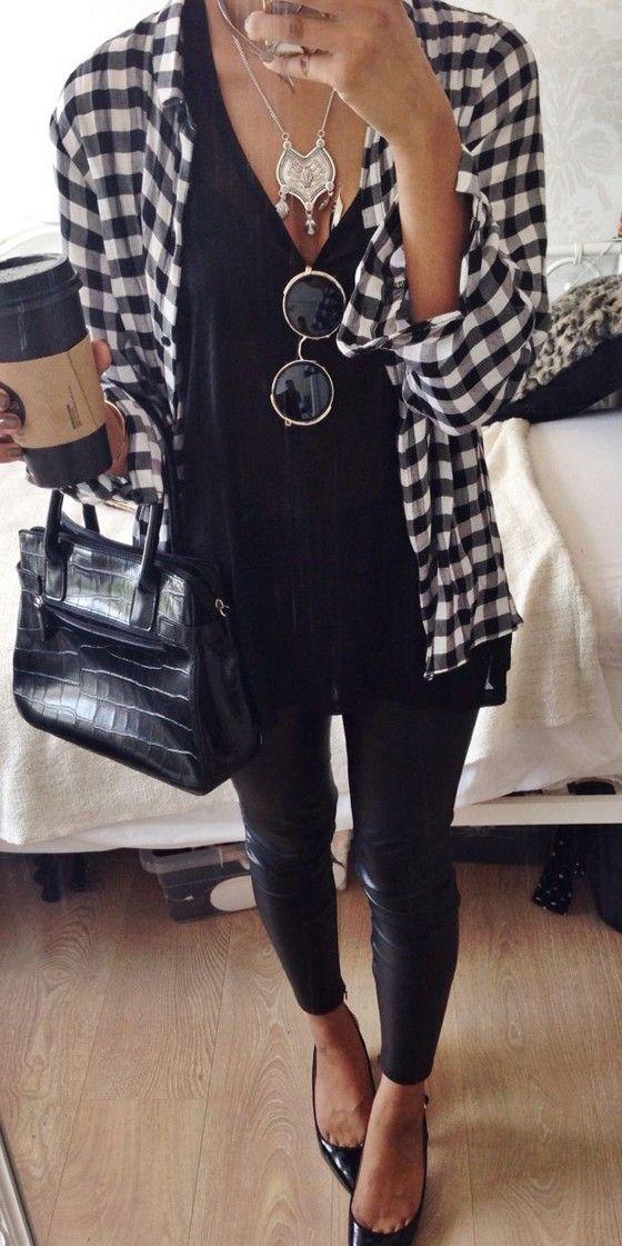Black Plaid Print Long Sleeve Casual Blouse: