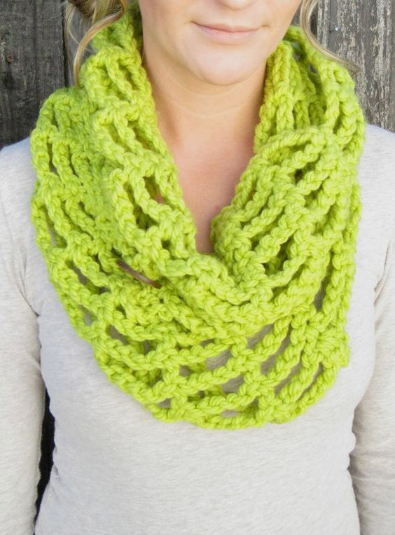 Bright Lime Green Chunky Crochet Scarf Cowl by STITCHandCABOODLE, $34.00