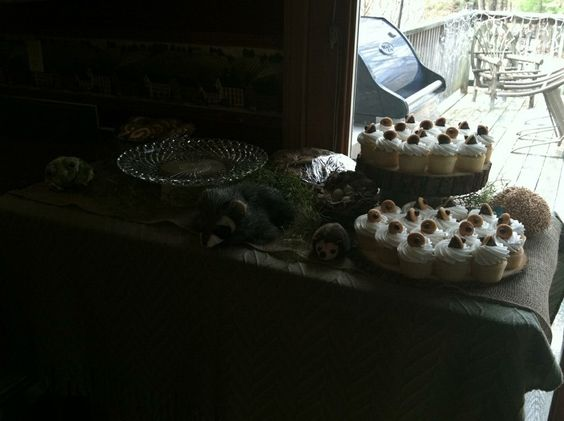 The partially filled dessert table for Erin's baby shower.  Acorn cupcakes for the woodland animal theme.