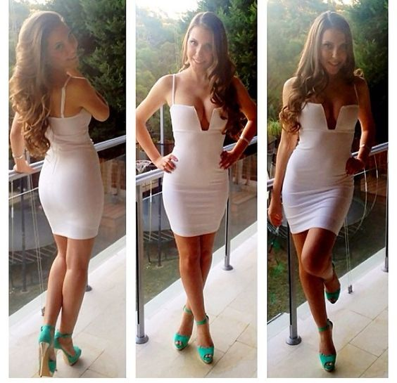 Little white dress and a POP of color heels ❤ for the ...