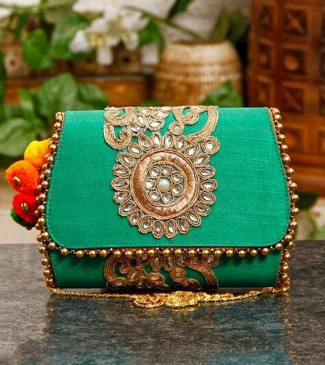 Sea Green Long strap Clutch
