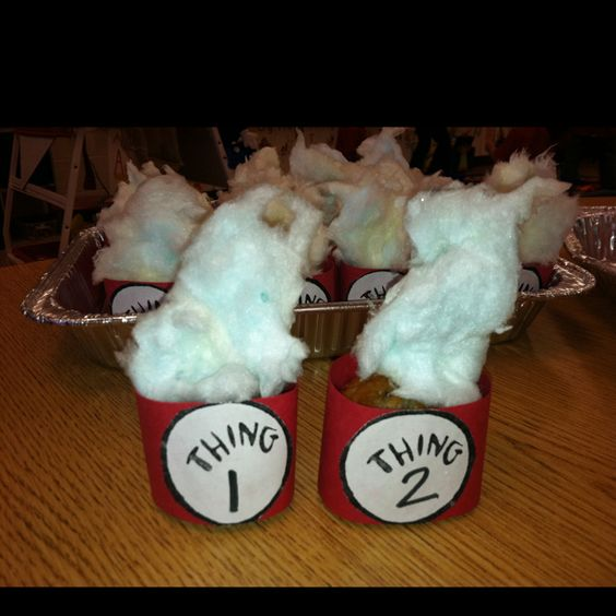 Thing 1 and Thing 2 cupcakes with blue cotton candy as the hair....kids in my classroom loved them!