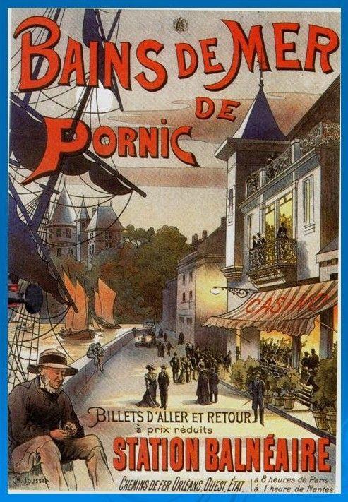 """Affiche retro vintage - """"Bains de Mer de PORNIC"""" - Chemins de fer Orléans Ouest Etat"""