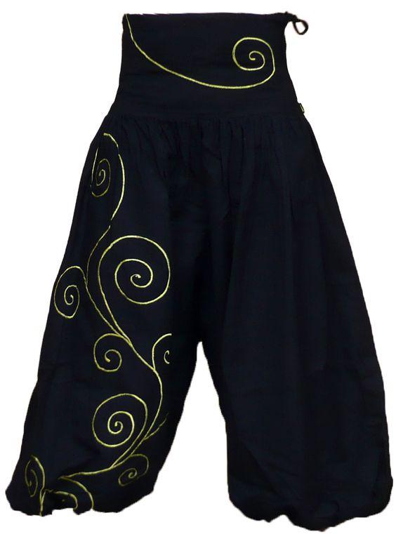 Pantalon Sarouel ATK188 Noir/vert népalais Ethnique Mixte SAMOURAÏ tailles 34/48 , Izia
