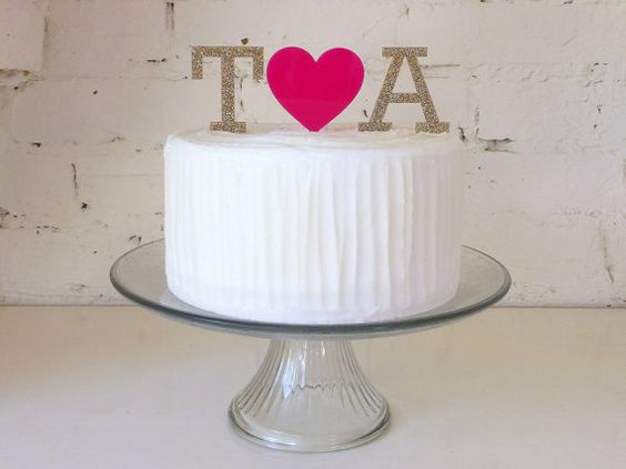 Monogram Letters and Heart Personalised Custom Made Wedding Cake Topper