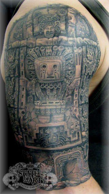 Half sleeve tattoos | Aztec half sleeve tattoo