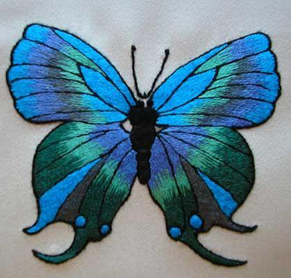 papillon bleu peinture l 39 aiguille jocelyne kurc peinture pinterest beautiful. Black Bedroom Furniture Sets. Home Design Ideas