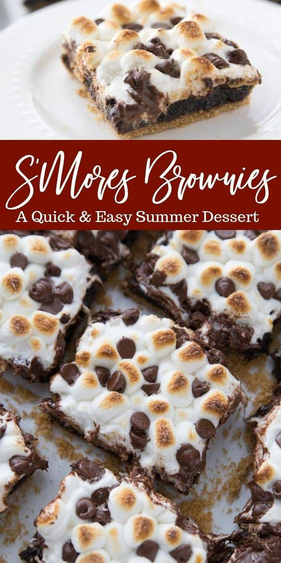 S'mores brownies are so simple to make. Graham cracker crust topped with brownie, and then finished off with toasted marshmallows and chocolate chips. #brownies #smores #chocolate #marshmallow #grahamcracker #easy #summer #dessert #recipe