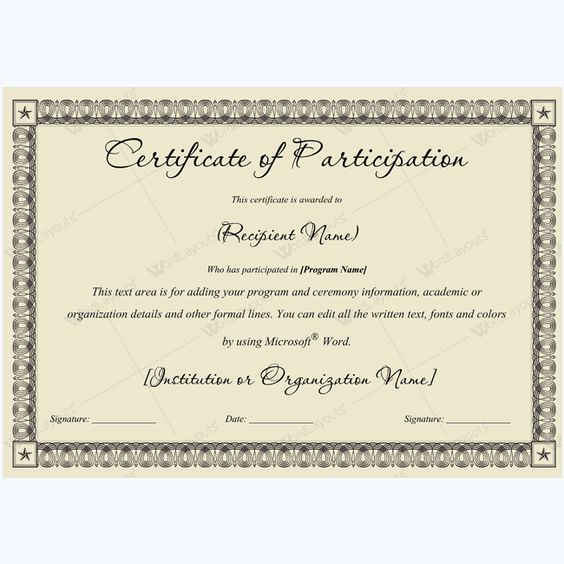Sports Participation Certificate #certificate #certificatetemplate - certificate of participation free template