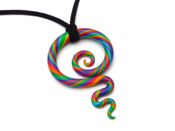 Kette+♥+Koru+Spirale+♥+Regenbogen+Schmuck+-+Fimo+von+aroha+-+jewels+&+arts+auf+DaWanda.com